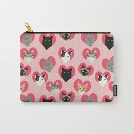 Cat faces love hearts valentines day gifts for cat lovers must have cats Carry-All Pouch