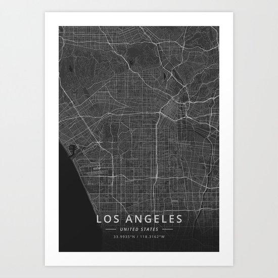 Los Angeles, United States - Dark Map by designermapart