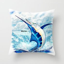Fish On! Blue Marlin Fighting Sport Fishing Boat Throw Pillow