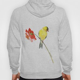 American Goldfinch and Red Flower Hoody