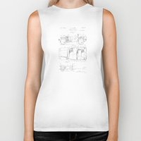 jeep Biker Tanks featuring Jeep: Byron Q. Jones Original Jeep Patent - White on Black by Elegant Chaos Gallery
