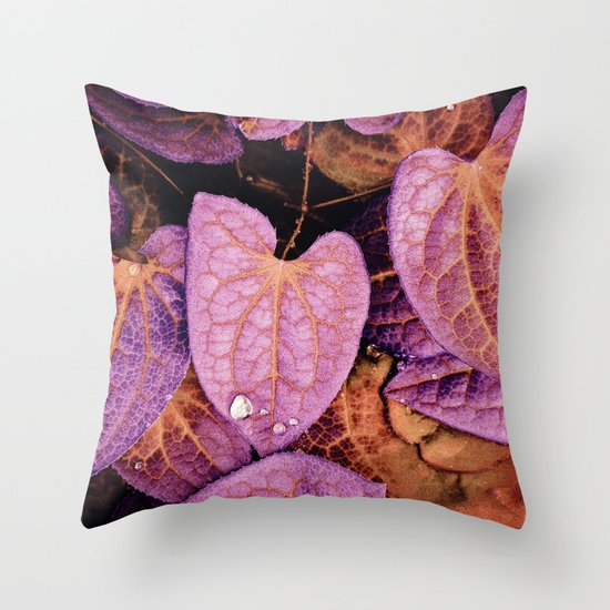 Fallen Leaves With Dew Throw Pillow