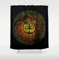 gondor Shower Curtains featuring Tree of Gondor Stained Glass by Mazuki Arts