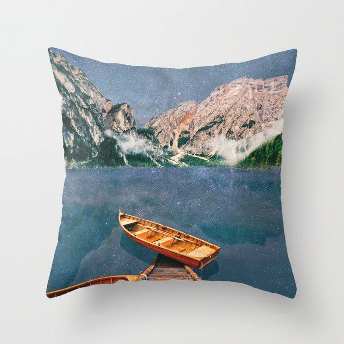 Space Lake at Pragser Wildsee Throw Pillow
