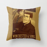 winchester Throw Pillows featuring Winchester & Sons by The Art of Nicole
