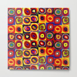 Kandinsky Modern Squares Circles Colorful Metal Print