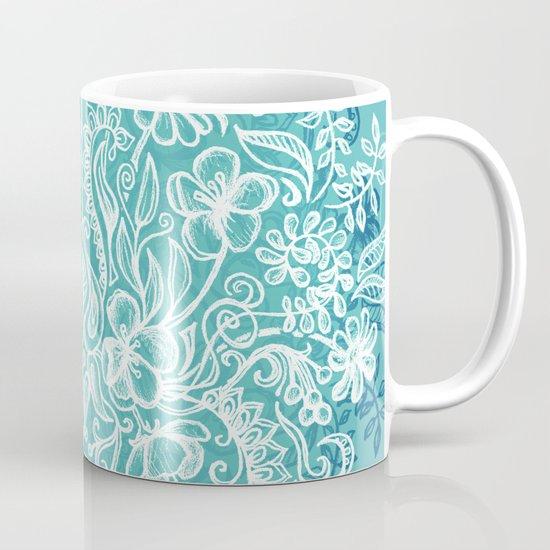 Spring Arrangement - teal & white floral doodle Coffee Mug