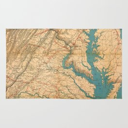 Vintage Map of Virginia and The Chesapeake Bay (1862) Rug