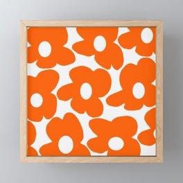 Orange Retro Flowers White Background #decor #society6 #buyart Framed Mini Art Print
