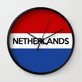 netherlands country flag name text Wall Clock