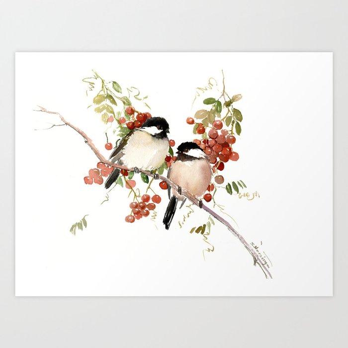 Chickadee Bird Vintage Bird Artwork, two birds, chickadees woodland design Kunstdrucke