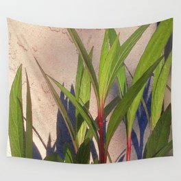 Long Green Leaves and Shadows Wall Tapestry