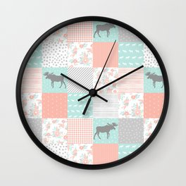 Modern quilt pattern square quilt baby nursery gender neutral gifts for new baby room Wall Clock