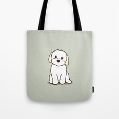 Shih Tzu and Maltese Mix Puppy Illustration Tote Bag