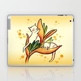 Yellow Heliconia and Cat Twins Laptop & iPad Skin