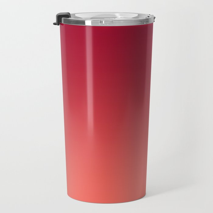 Living Coral Jester Red Gradient Ombre Pattern Bordo Burgundy Watercolor Texture Travel Mug