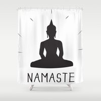 namaste Shower Curtains featuring NAMASTE by MantiniDesign