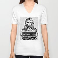 kate moss V-neck T-shirts featuring Kate Moss by loveme