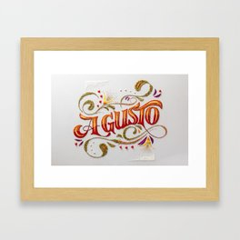 A Gusto: food styling typography  Framed Art Print