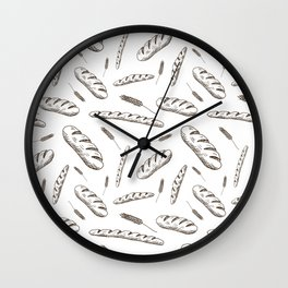 Bread print. Hand-drawn bread baguettes on white background. Wall Clock