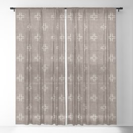 mudcloth crosses - taupe Sheer Curtain