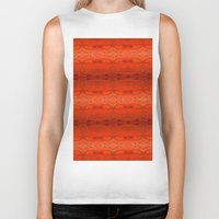 orange pattern Biker Tanks featuring Orange Aztec Pattern by Corbin Henry