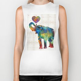Colorful Elephant Art - Elovephant - By Sharon Cummings Biker Tank