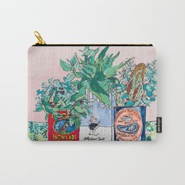 Jungle Botanical in Colorful Cans on Pink - Still Life Carry-All Pouch