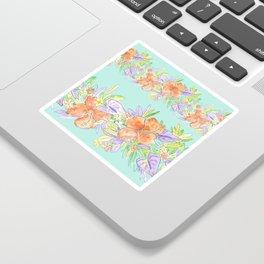 tropical hawaiian flowers aqua Sticker