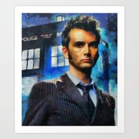 david tennant Art Prints featuring dr who 10 david tennant by janice maclellan