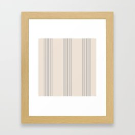 Simple Farmhouse Stripes in Gray on Beige Framed Art Print