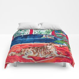 Red Interior with Borzoi Dog and House Plants Painting Comforters