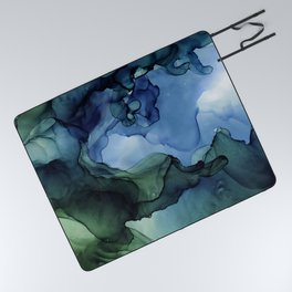 Blue Green Waves Abstract Ink Painting Picnic Blanket