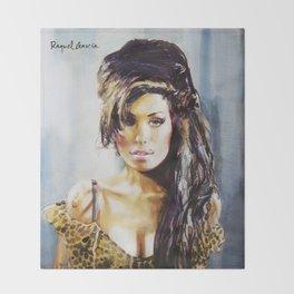 Winehouse Portrait 3 Throw Blanket