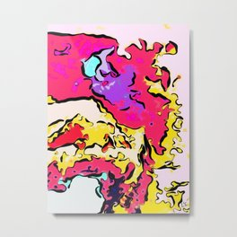 Neon Drizzle Puddle Metal Print