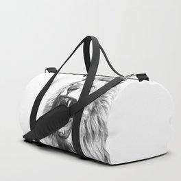 Black White Fierce Lion Duffle Bag