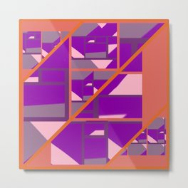 Outspoken Orange with patterns of pink, purple and mauve Metal Print