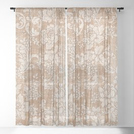Vintage white brown grunge shabby floral Sheer Curtain
