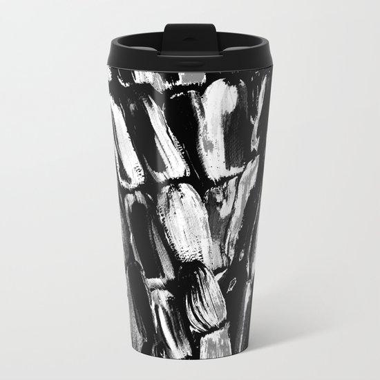 Silver Sugarcane Black and White Metal Travel Mug