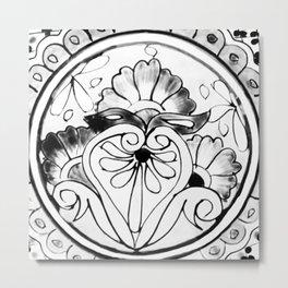 Black and White Talavera Five Metal Print