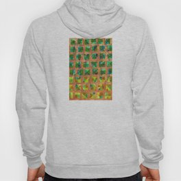 Green Squares on Golden Background Pattern Hoody