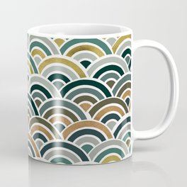 Japanese Seigaiha Wave – Teal & Bronze Palette Coffee Mug