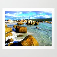 Rocks in the ocean on a sunny day Art Print