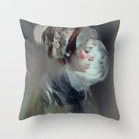 collage Throw Pillows featuring Self portrait by Feline Zegers