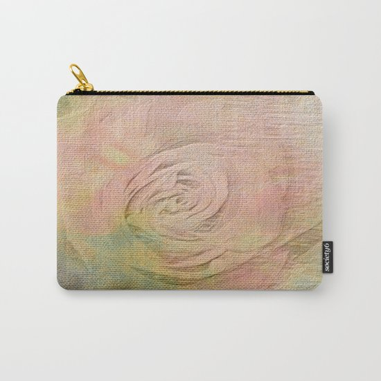 Timeless Vintage Pressed Pastel Rose Carry-All Pouch