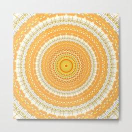 Marigold Orange Mandala Design Metal Print