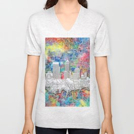 indianapolis city skyline watercolor Unisex V-Neck