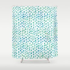 Aqua Blue Green Abstract Watercolor Shower Curtain