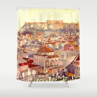 takmaj Shower Curtains featuring Athens by takmaj