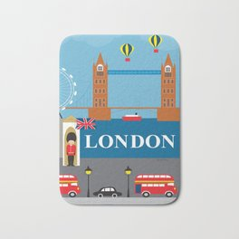 London, England - Collage Illustration by Loose Petals Bath Mat